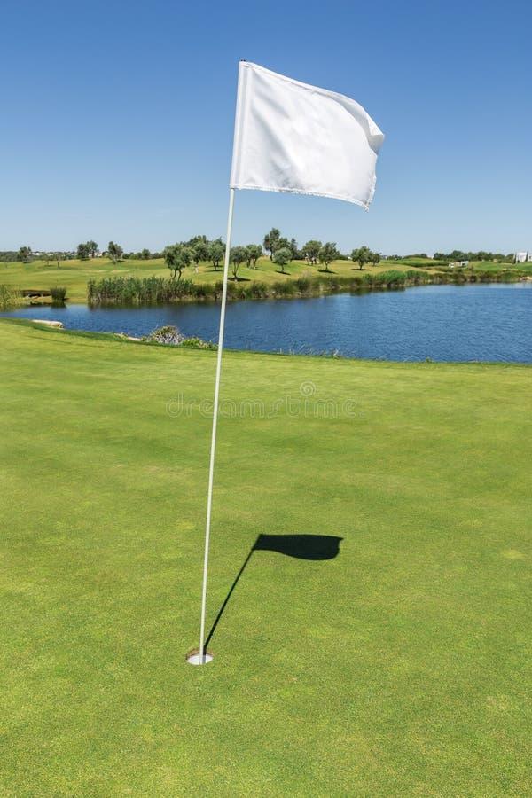 Сигнальный флаг для отверстия на поле для гольфа стоковые изображения