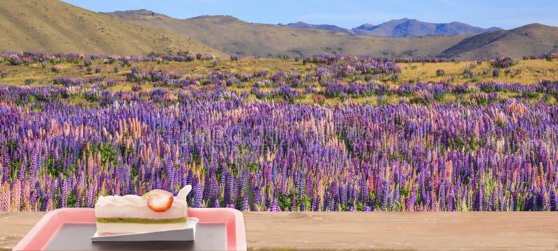 Сидеть на деревянном столе и наслаждается тортом клубники вишневого цвета десерта с красивым ландшафтом поля полевых цветков люпи стоковые изображения