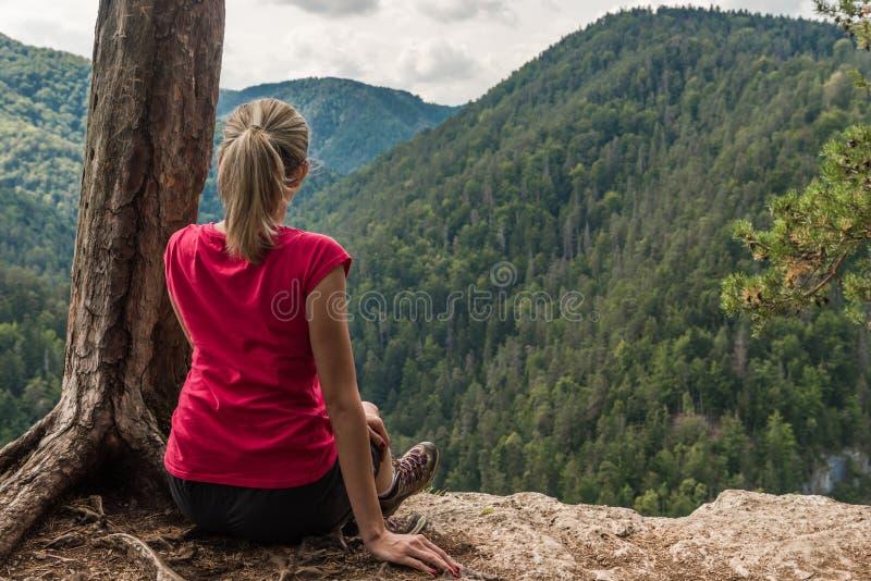 Сидеть на скале стоковое изображение