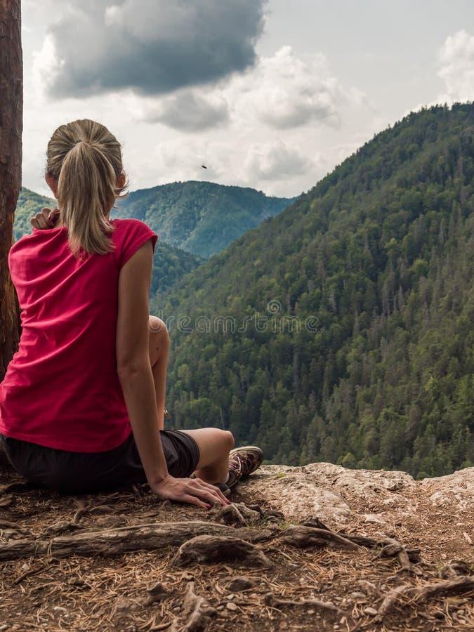 Сидеть на скале стоковое фото rf