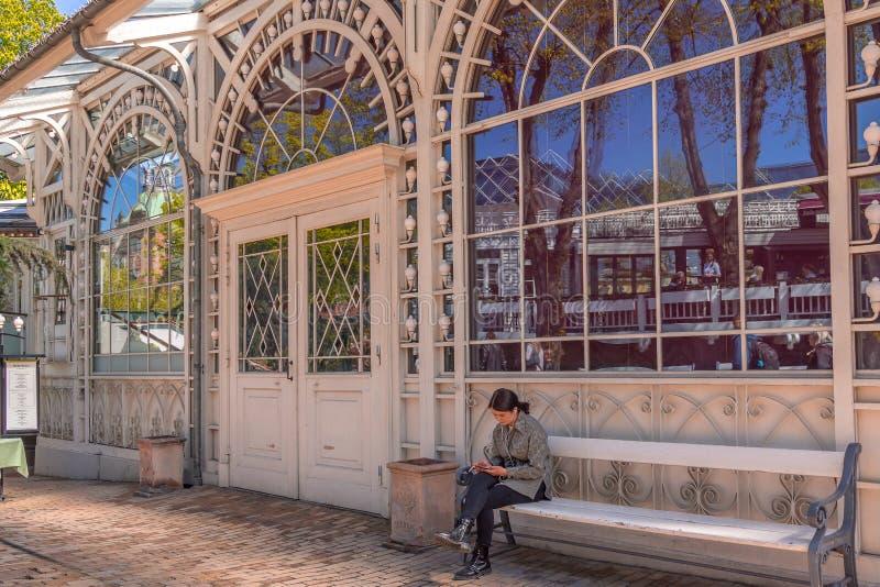 Сидящ на стенде в садах tivoli, курящ и отправка СМС стоковые изображения rf