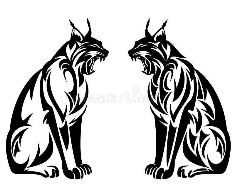 Сидя дизайн вектора дикого рыся племенной черный бесплатная иллюстрация
