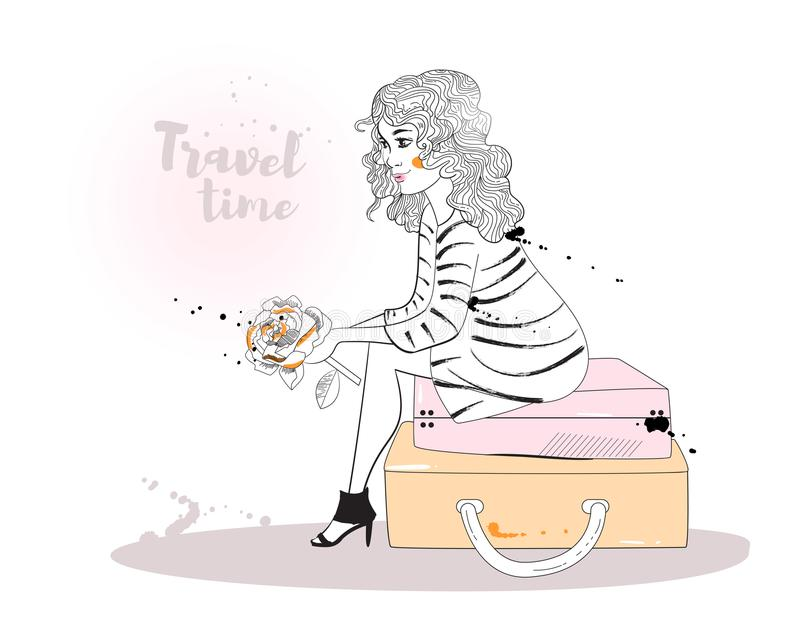 сидя женщина чемодана иллюстрация штока