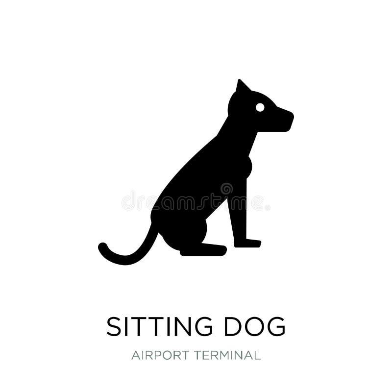 сидя значок собаки в ультрамодном стиле дизайна сидя значок собаки изолированный на белой предпосылке сидя значок вектора собаки  иллюстрация вектора