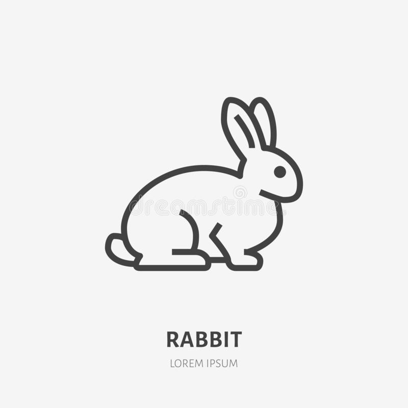 Сидя линия значок кролика плоская Знак вектора тонкий милого зайчика, животного логотипа Иллюстрация плана зоомагазина, жестокост бесплатная иллюстрация