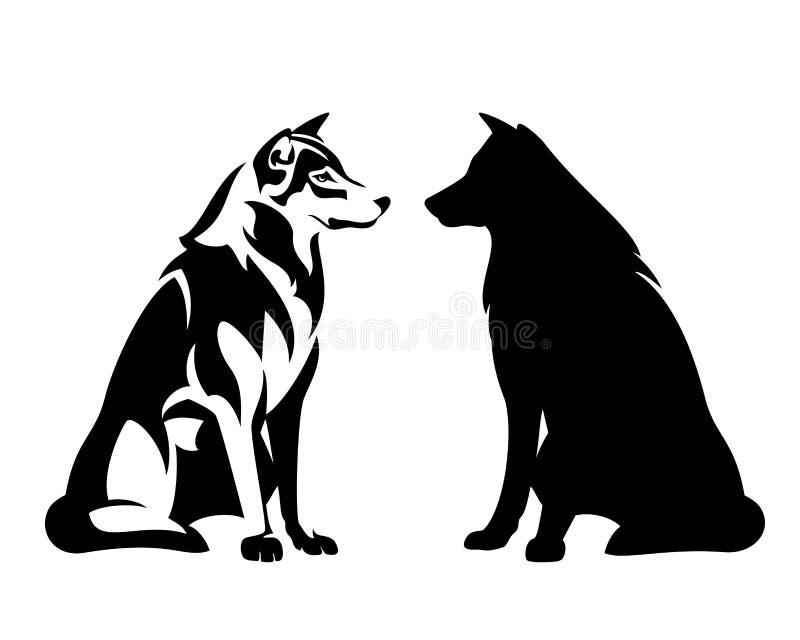 Сидя план вектора черноты волка иллюстрация штока