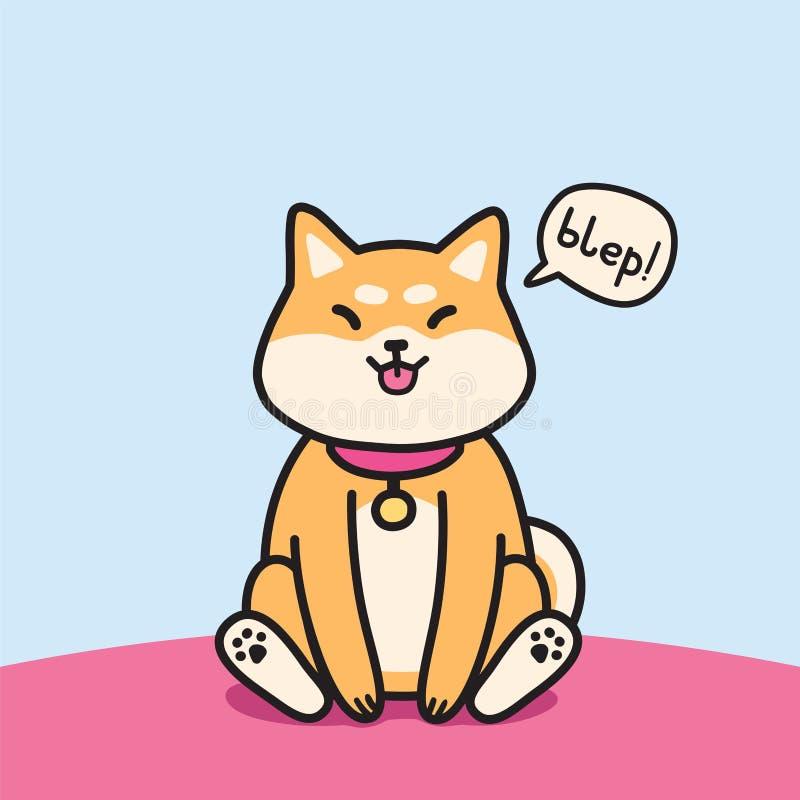Сидя собака inu shiba с языком вне иллюстрации вектора иллюстрация вектора