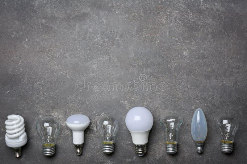 СИД, раскаленный добела и люминесцентные лампы стоковая фотография