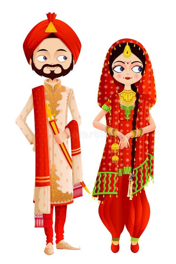 Сикхские пары свадьбы иллюстрация штока