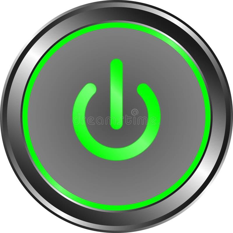 Сила дальше с зеленым металлом приведенным кнопки бесплатная иллюстрация