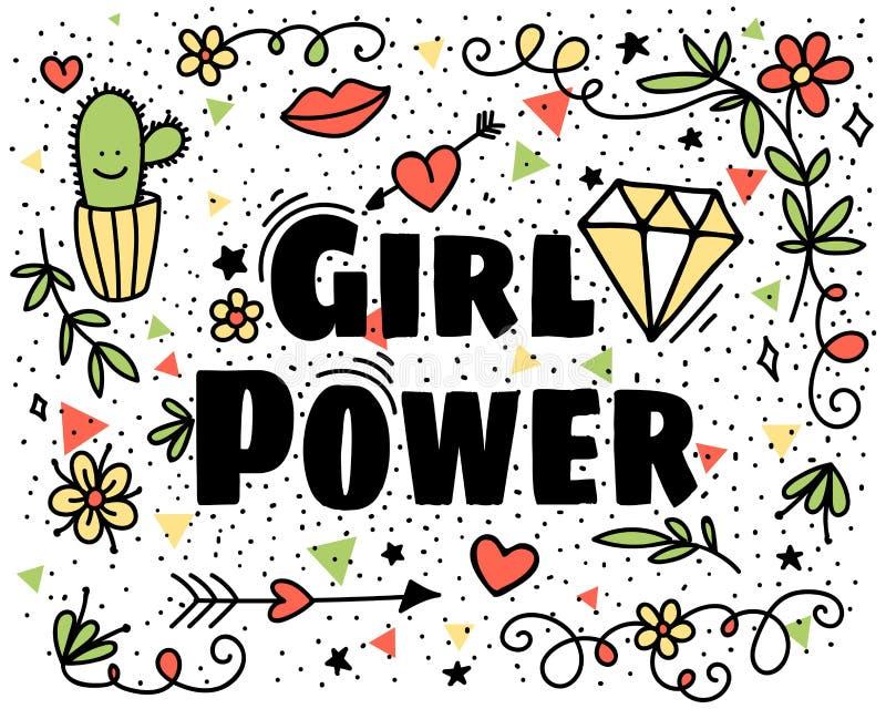 Сила девушки Смешная иллюстрация с кактусами, губами, влюбленностью, листьями, диамантом, цветками и стрелкой на белой предпосылк иллюстрация штока
