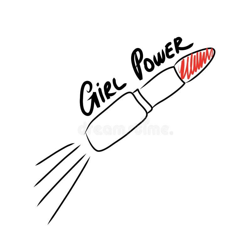 Сила девушки Феминист лозунг Фраза для футболок, плакатов, и карточек иллюстрация штока