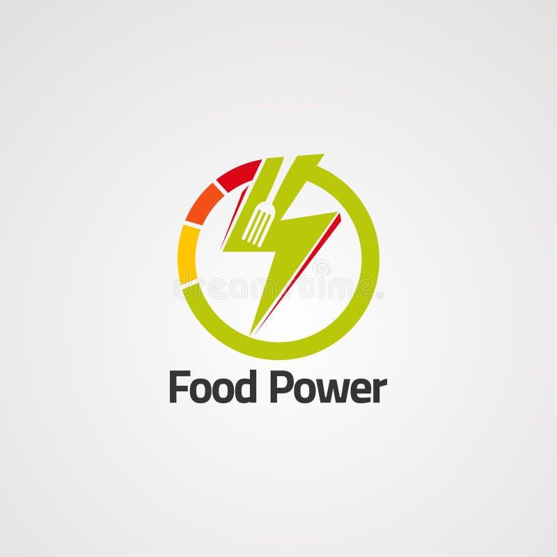 Сила еды с вектором, значком, элементом, и шаблоном логотипа грома круга для компании бесплатная иллюстрация