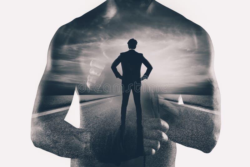 Сила и определение бизнесмена бойца двойная экспозиция иллюстрация штока