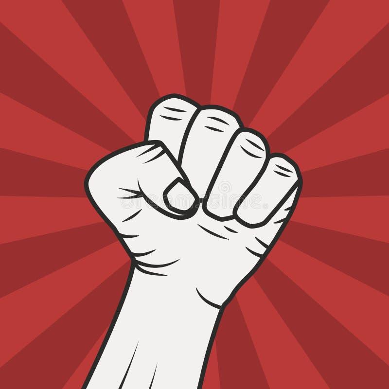 Сила кулака Рука кулака мужская на предпосылке световых лучей красного света Знак силы Ультрамодный плоский стиль r иллюстрация вектора