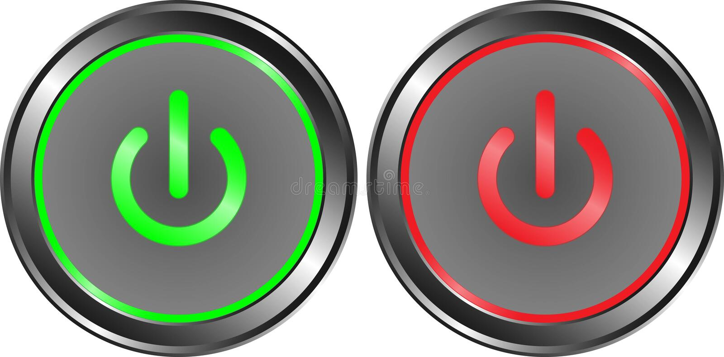 Сила на металле кнопки красного цвета зеленого цвета и выключения иллюстрация вектора