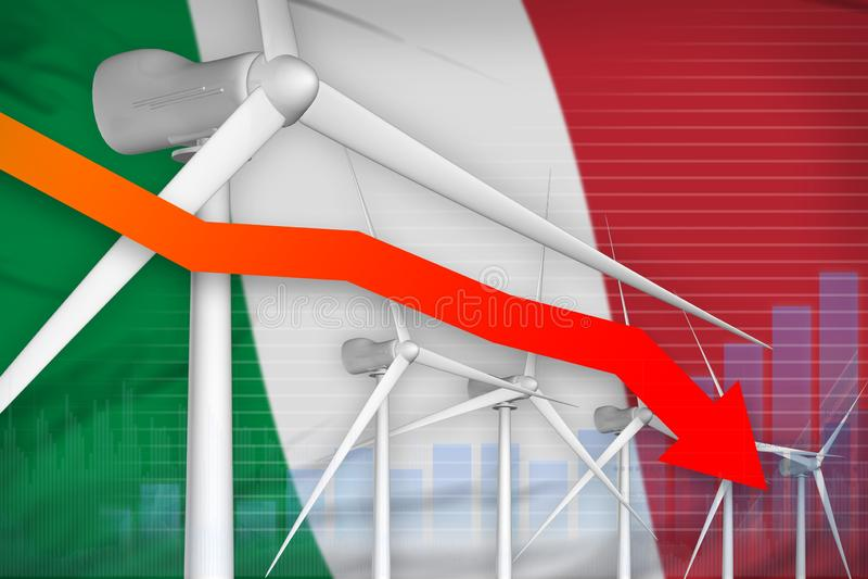 Сила энергии ветра Италии понижая диаграмму, стрелку вниз с - иллюстрации природной энергии промышленной : иллюстрация штока