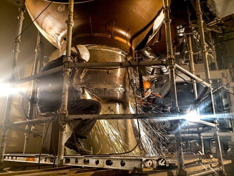 сила ядерной установки Обрабатывать сваренного шва максимума pre стоковые фотографии rf
