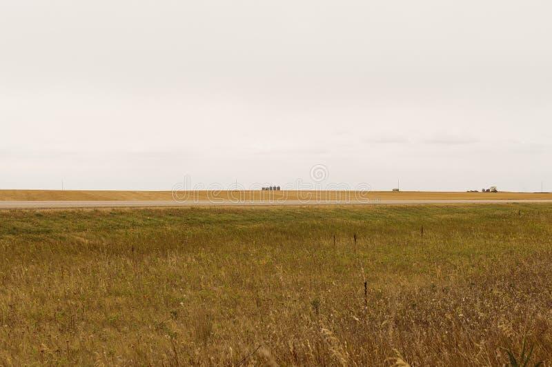 Силосохранилища зерна на горизонте прерии стоковые фото