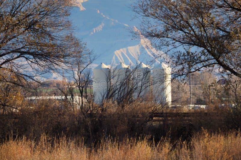 4 силосохранилища на поле долины стоковая фотография