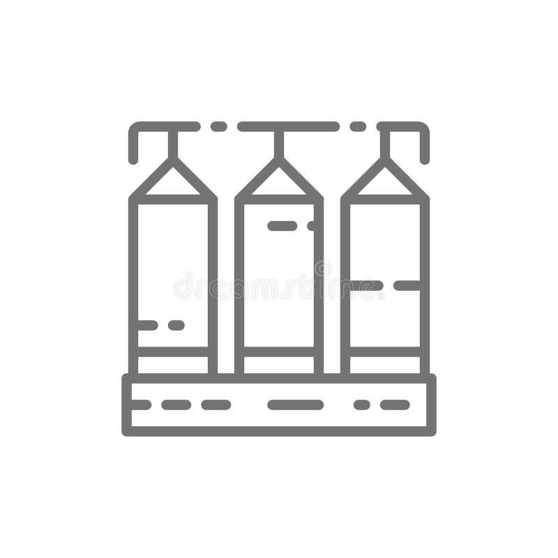 Силосохранилище зерна, фабрика пшеницы, линия сельскохозяйственных строительств значок иллюстрация вектора