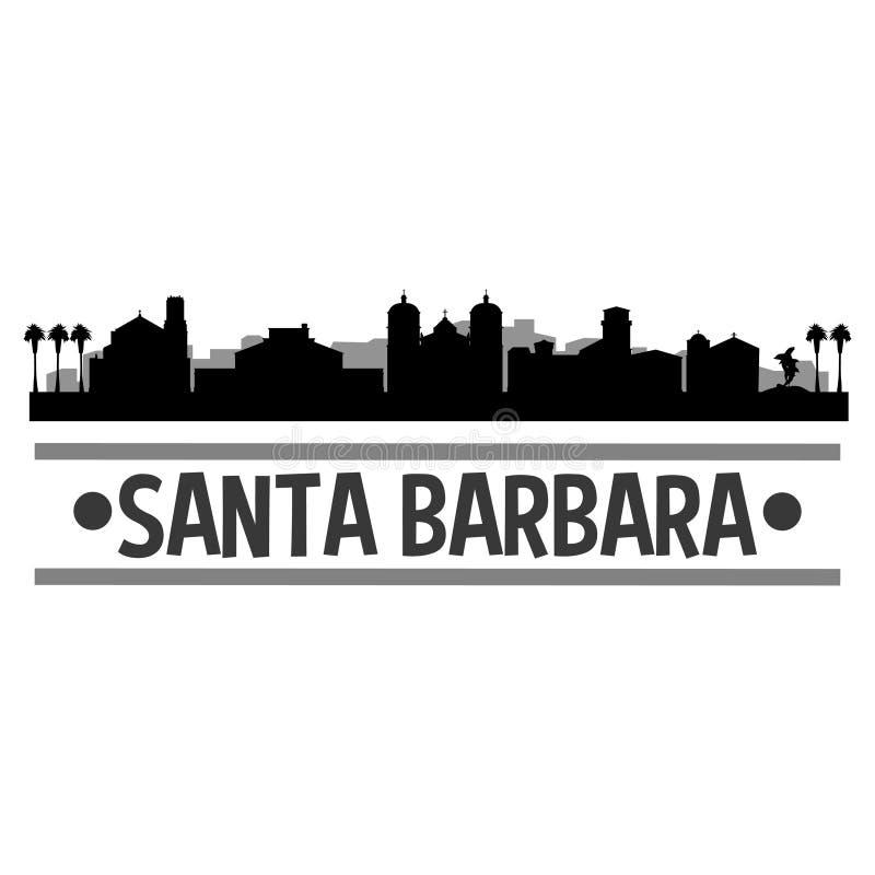 Силуэта города горизонта дизайна искусства вектора значка Санта-Барбара Калифорнии шаблон плоского Editable иллюстрация вектора
