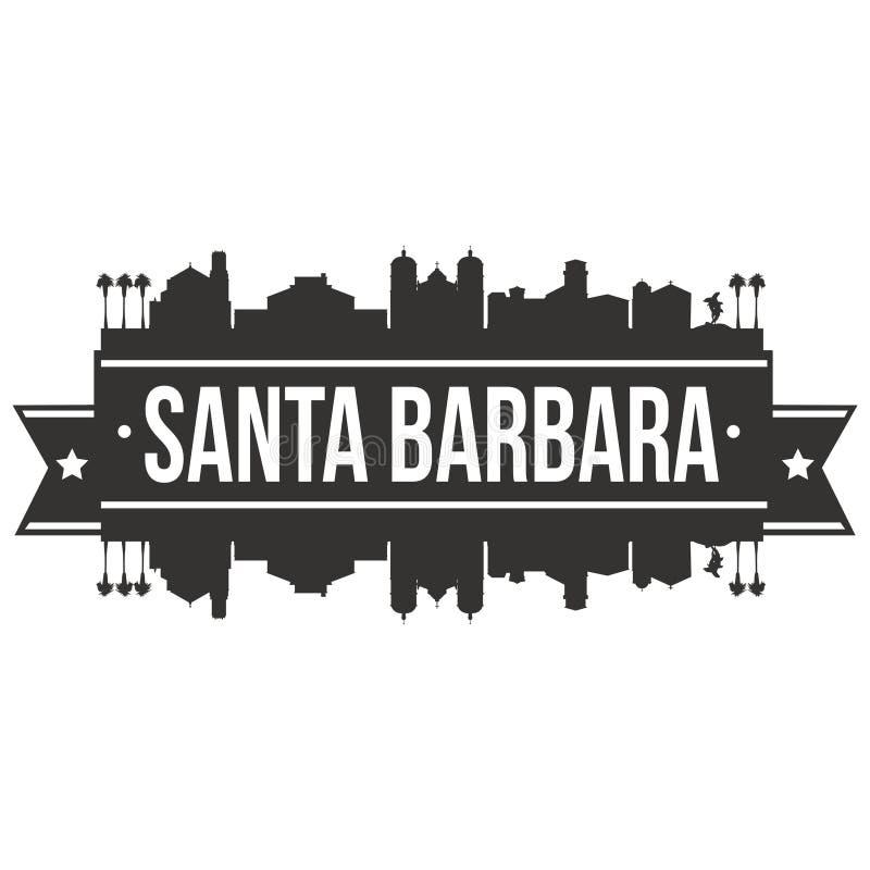 Силуэта города горизонта дизайна искусства вектора значка Санта-Барбара Калифорнии Соединенных Штатов Америки США шаблон плоского иллюстрация вектора