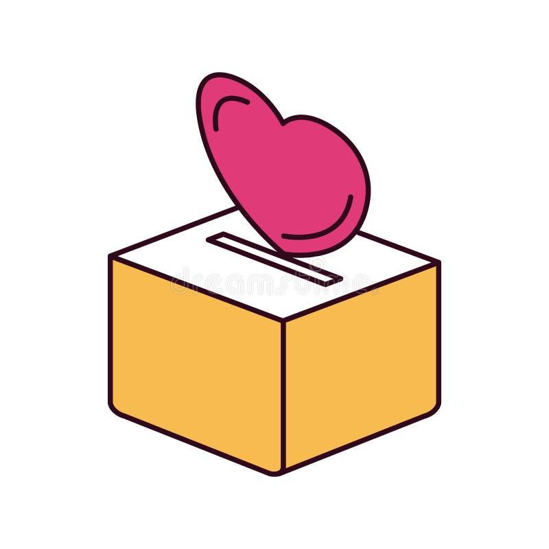 Силуэта цвета разделов сердце плоско депозируя в коробке коробки иллюстрация вектора