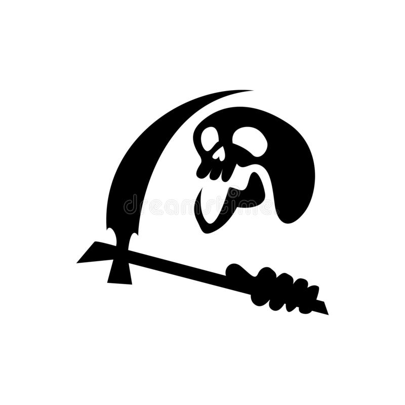 Силуэта черепа жнеца, простого но пугающего жнеца черепа для атрибутов хеллоуина иллюстрация вектора