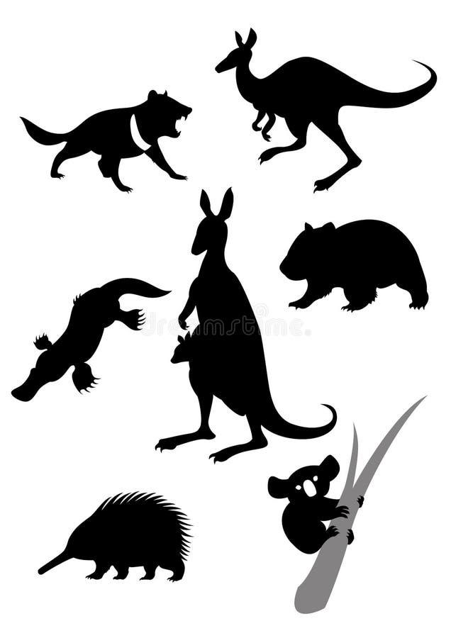 Силуэты австралийских животных иллюстрация штока