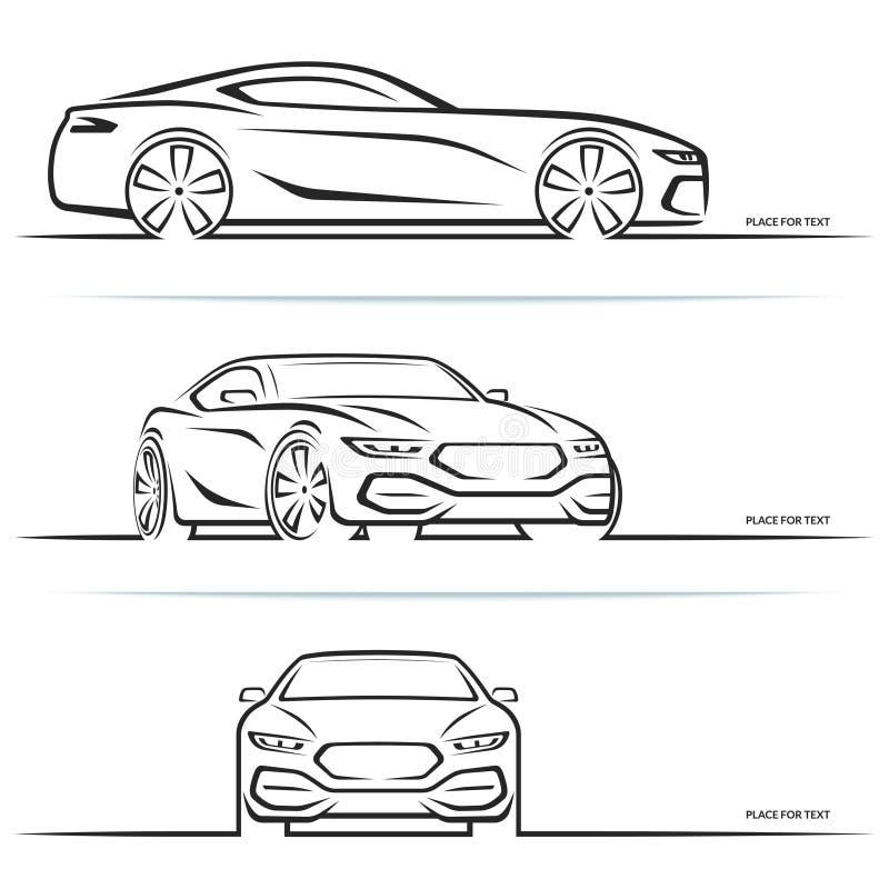 Силуэты автомобиля спорт вектора иллюстрация штока