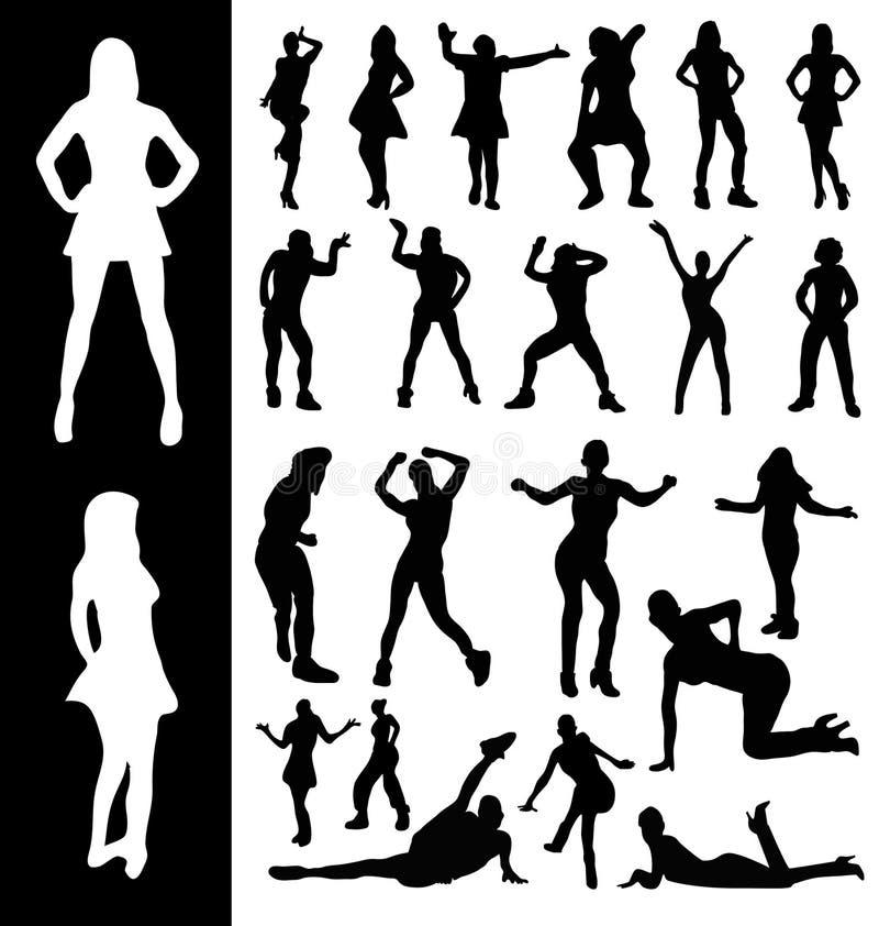 Силуэты активных женщин стоковые изображения rf