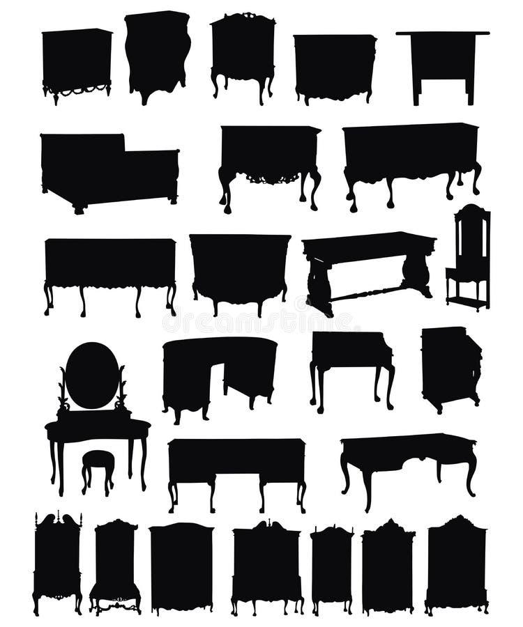 силуэты античной мебели иллюстрация вектора