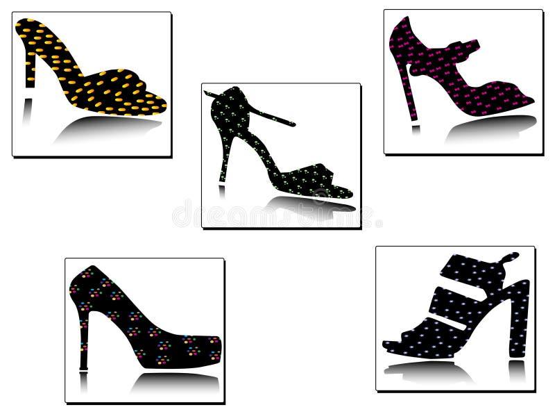 силуэты ботинок классического deta геометрические стоковые изображения