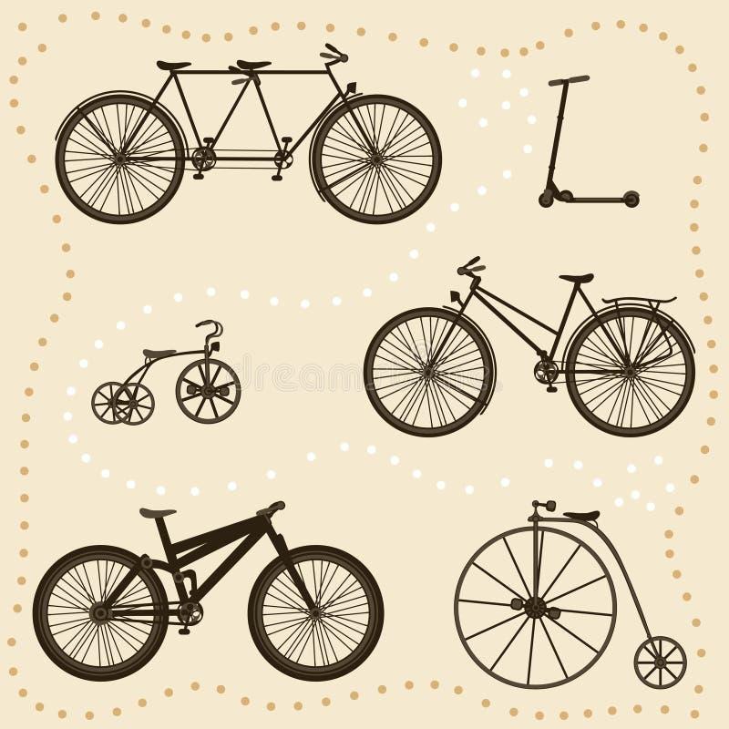 силуэты велосипеда установленные иллюстрация вектора