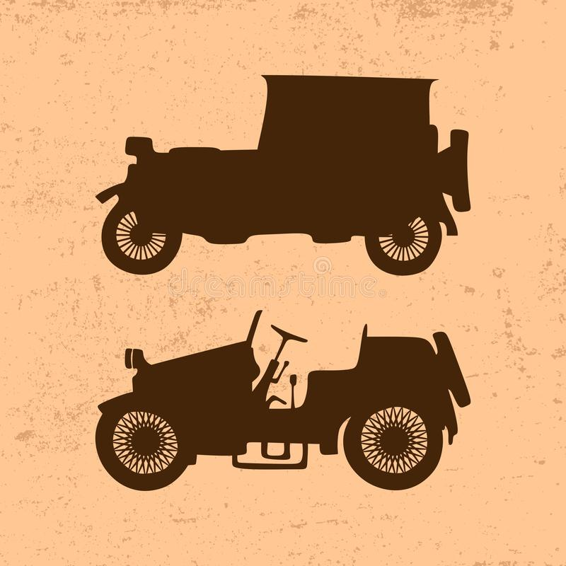 Силуэты винтажных ретро автомобилей иллюстрация штока