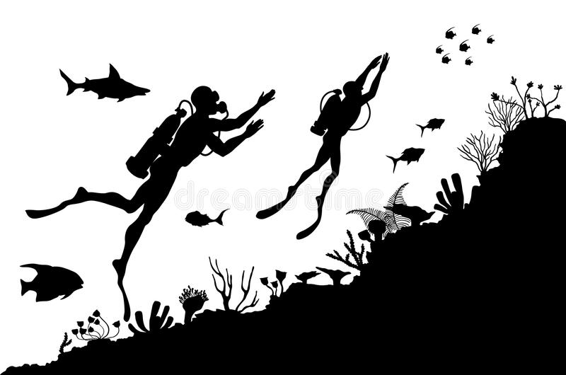 Силуэты водолазов исследуя подводный риф иллюстрация вектора