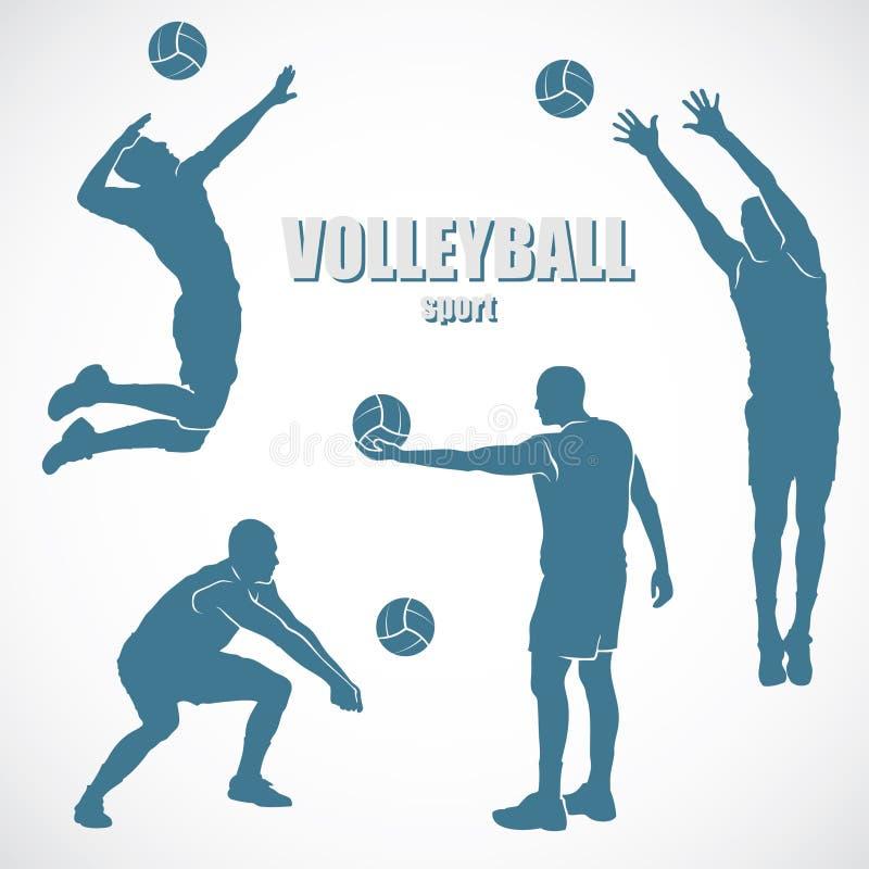 Силуэты волейбола иллюстрация штока