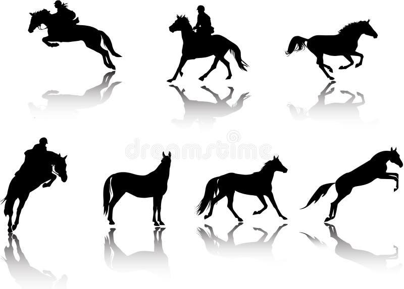 силуэты всадников лошадей иллюстрация штока