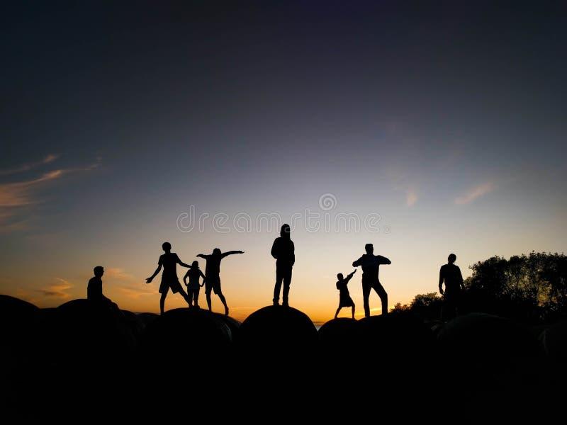 Силуэты в заходе солнца, жизни фермы стоковое фото rf