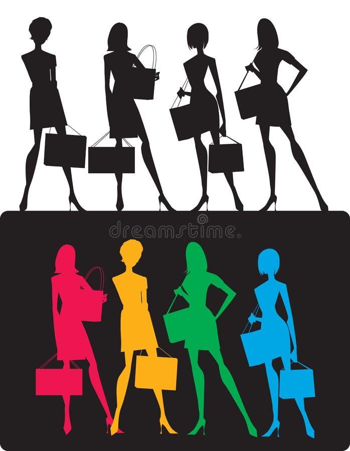 Download силуэты девушок ходя по магазинам Стоковое Изображение - изображение: 25718477
