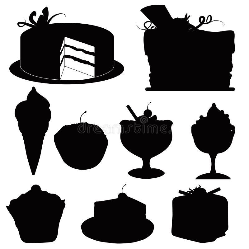 силуэты десертов иллюстрация вектора