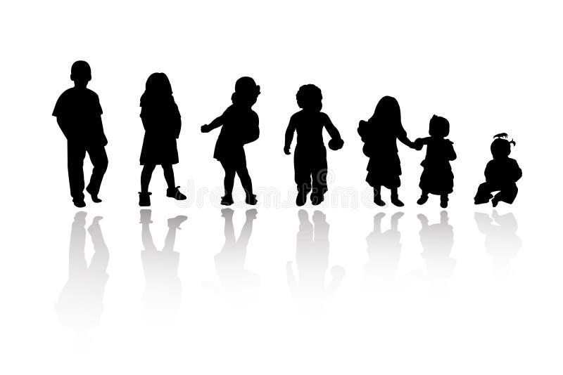 силуэты детей иллюстрация вектора