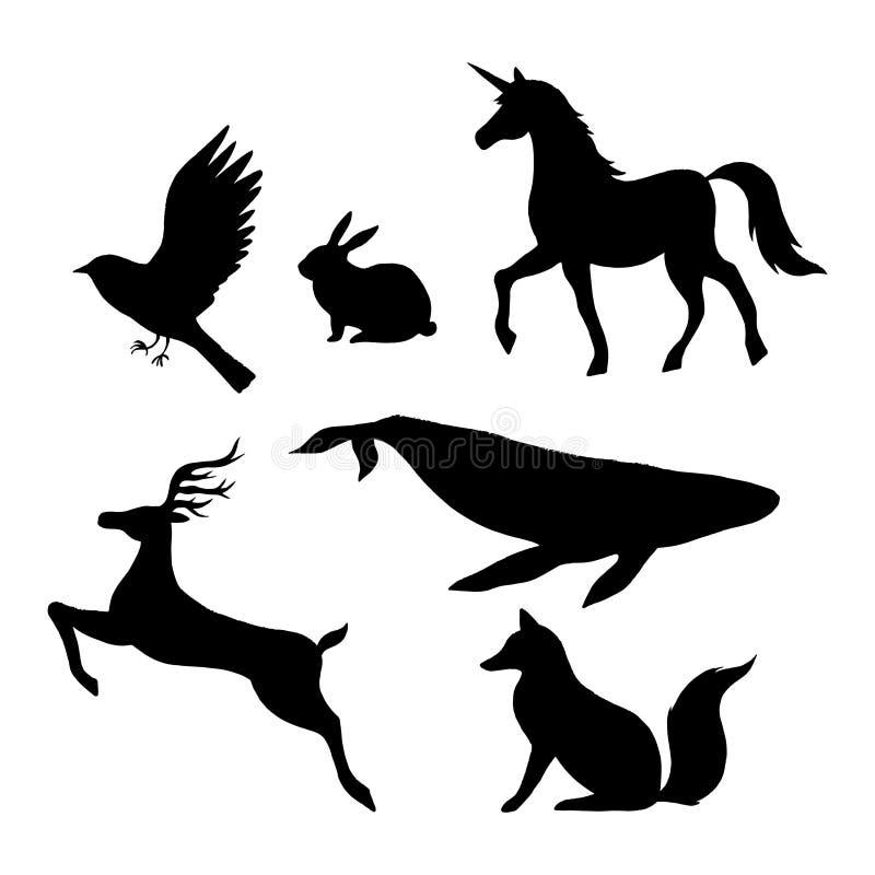 Силуэты диких животных вектора изолированные на белизне иллюстрация штока