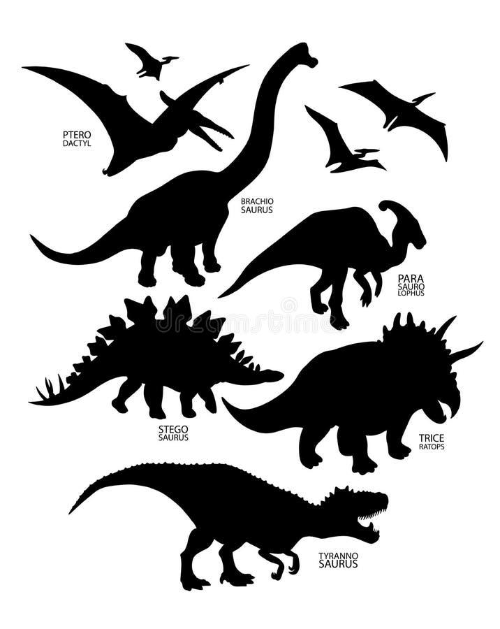 Силуэты динозавра иллюстрация вектора
