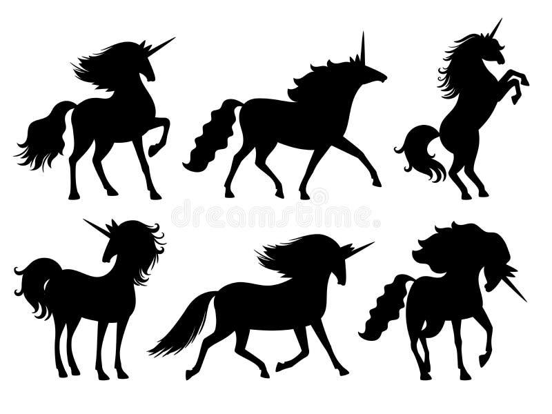 Силуэты единорога Набор силуэта единорогов вектора изолированный на белом, загадочном животном лошади, милом horsy духе мифа иллюстрация штока