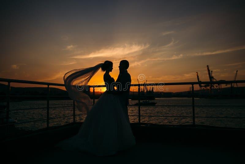 Силуэты жениха и невеста стоя на предпосылке города ночи и нежно смотря один другого на заходе солнца Концепция стоковые изображения