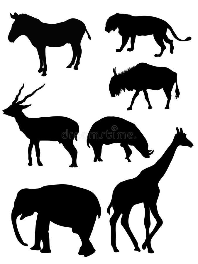 силуэты животных одичалые иллюстрация штока