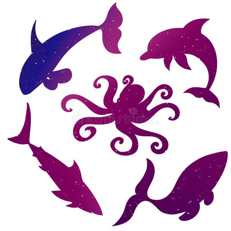 Силуэты животных океана стоковые изображения