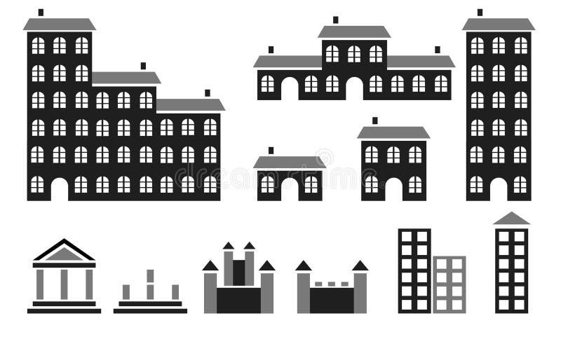 силуэты зданий иллюстрация вектора